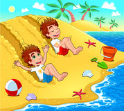 Twins are playing on the beach. Stock Photos