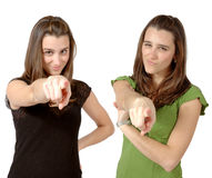 Free Twins Pointing At You Royalty Free Stock Image - 648716