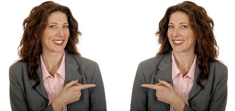 Twins Pointing to Copyspace. Nice Image Of Twin Business woman Pointing to copyspace for your project Stock Images