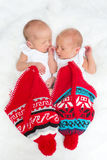 Twins in red hats Stock Photos