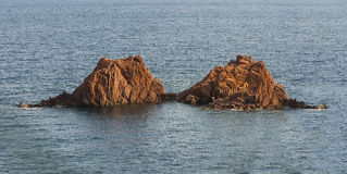 Twins Rock Formation, France. Twins rock in the sea, Théule sur Mer, France Royalty Free Stock Images
