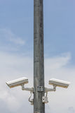 Twins Security camera on the metal pole Royalty Free Stock Photography