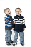 Twins singing Royalty Free Stock Photo