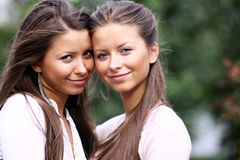 Twins of sister. Summer outdoor Stock Photography