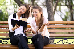 Twins of sister readink book Royalty Free Stock Photo