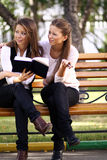 Twins of sister readink book Royalty Free Stock Images