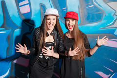 Twins sisters having fun together. Royalty Free Stock Photos