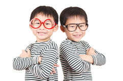 Twins smiling royalty free stock photos