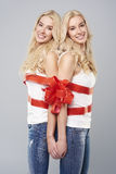 Twins in studio Royalty Free Stock Image