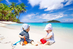 Twins on sun holidays Royalty Free Stock Photos