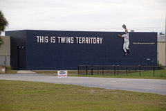 This is Twins Territory. The new sign at the newly remodeled CenturyLink Sports Complex in Fort Myers, Florida depicts Kirby Puckett making a catch. One of the stock images