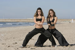 Twins training Royalty Free Stock Image