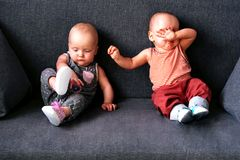 Twins up to a year sitting on a gray sofa. Brother and sister. Twins up to a year sitting on a gray sofa. Brother and sister stock images