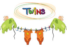 Twins vector template invitation Royalty Free Stock Images
