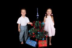 Twins and xmas Stock Photo