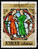 Twins, zodiac sign in the Notre Dame Cathedral, Paris, Personalities and their zodiac signs serie, circa 1971. MOSCOW, RUSSIA - MAY 25, 2019: Postage stamp royalty free stock photo