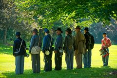 Civil War unit lining up Royalty Free Stock Photography