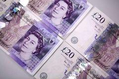 Twintig (20) Bankbiljetten van Ponden Stock Fotografie