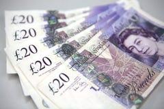 Twintig (20) Bankbiljetten van Ponden Royalty-vrije Stock Fotografie