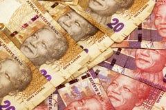 Twintig andFfifty Rand Brown en Rode Bankbiljetten Royalty-vrije Stock Foto's