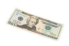 Twintig die dollars op witte achtergrond worden geïsoleerd Royalty-vrije Stock Fotografie