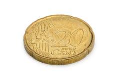 Twintig die eurocentenmuntstuk op witte achtergrond wordt geïsoleerd Stock Afbeeldingen