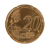 Twintig euro centmuntstuk Stock Foto's