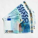 Twintig Euro Nota's royalty-vrije stock afbeelding