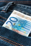 Twintig euro in zak Royalty-vrije Stock Afbeelding