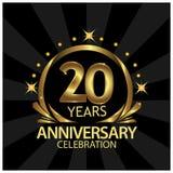 Twintig jaar verjaardags gouden het ontwerp van het verjaardagsmalplaatje voor Web, spel, Creatieve affiche, boekje, pamflet, vli vector illustratie