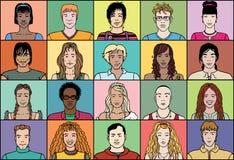 Twintig jonge mensen royalty-vrije illustratie