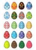 Twintig kleurrijke paaseieren, vijf unieke patronen Geïsoleerd op een witte achtergrond stock illustratie