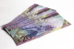 Twintig ponden bankbiljetten Schots geld stock afbeeldingen