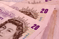 Twintig pondenbankbiljetten Royalty-vrije Stock Fotografie