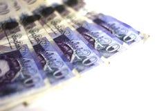 Twintig Pondennota's Bank van Engeland stock foto's