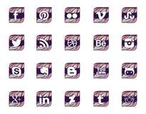 Twintig sociale pictogrammen in golvende stijl Royalty-vrije Stock Afbeeldingen