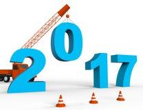 Twintig Zeventien tonen 2017 Nieuwjaar en het Jaarlijkse 3d Teruggeven Stock Afbeeldingen