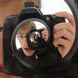 Twirl da espiral da câmera de DSLR Foto de Stock