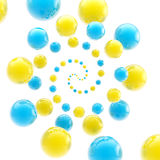 Twirl made of spheres as an abstract background. Colorful glossy twirl made of blue and yellow spheres as an abstract background Stock Photography