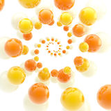 Twirl made of spheres as an abstract background. Colorful glossy twirl made of orange yellow and white spheres as an abstract background Stock Image