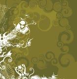 Twirl retro com crânio Ilustração Stock