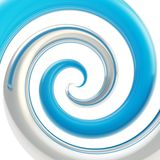 Twirled curve tube vortex as abstract background. Twirled vortex as colorful abstract background made of  chrome metal and blue glossy curve tubes on white Stock Image