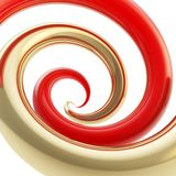 Twirled curve tube vortex as abstract background. Twirled vortex as colorful abstract background made of glossy golden metal and red curve tubes on white stock illustration