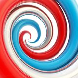 Twirled curve tube vortex as abstract background. Twirled vortex as colorful abstract background made of tricolor red, blue, chrome metal glossy curve tubes on Royalty Free Stock Image