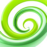 Twirled curve tube vortex as abstract background. Twirled vortex as colorful abstract background made of green glossy curve tubes on white Royalty Free Stock Photo