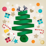 Twirled ribbon Christmas tree card design Royalty Free Stock Photo