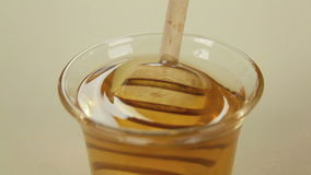 Twirler Dunked In Honey. Honey dipper is dipped into a glass of honey and lifted stock video