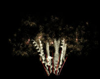 Twirling Fireworks from ground to sky Royalty Free Stock Photo