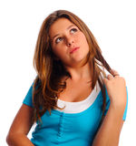 Twirling hair teen Stock Photo