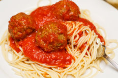 Twirling Spaghetti on Fork with Meatballs stock image